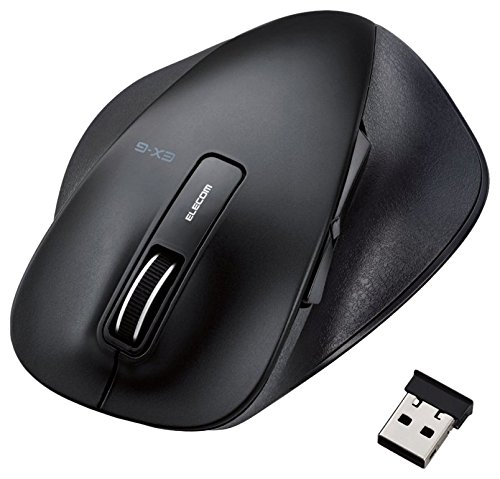 ELECOM BlueLED ワイヤレスマウス 握りの極み Lサイズ 無線 2.4GHz 5ボタン ブラック M-XGL10DBBK
