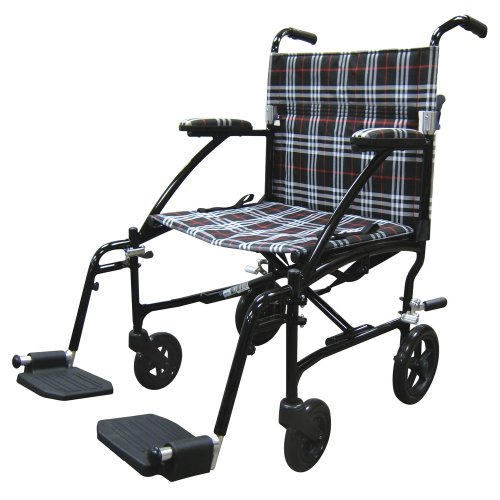 Drive Medical Fly Lite Ultra Lightweight Transport Wheelchair, Black Frame, 19