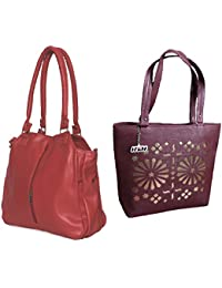 H&H Women HandBag Combo Contemporary Red + Blossom Maroon
