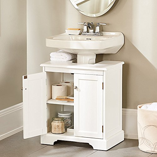 Weatherby Bathroom Pedestal Sink Storage Cabinet - White