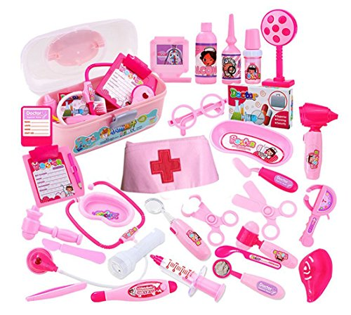 Children Role-playing Simulation Doctors Toy Stethoscope Injections Nurse 31 PCS Of Suits (pink)
