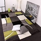 Paco Home Tappeto Di Design Orlo A Quadri Nei Colori Bianco Verde Grigio Nero, Dimensione:200x290 cm