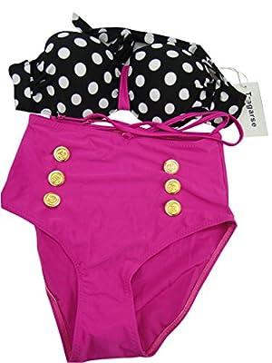 Tragarse Women's Sweet Polka Dots Push Up High Waisted Bikini YY20 (Red, Large)