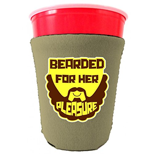 Coolie Junction Bearded For Her Pleasure Funny Solo Cup Coolie Khaki