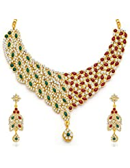 Sukkhi Delightly Gold Plated Meenakari AD Necklace Set
