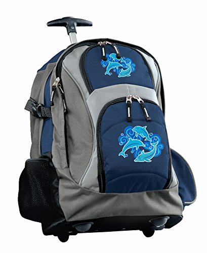 Dolphin Rolling Backpack Deluxe Navy Dolphins Backpacks Bags With Wheels Or Sch
