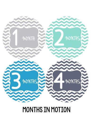 Months in Motion 142 Monthly Baby Stickers Milestone Age Sticker Boy Chevron