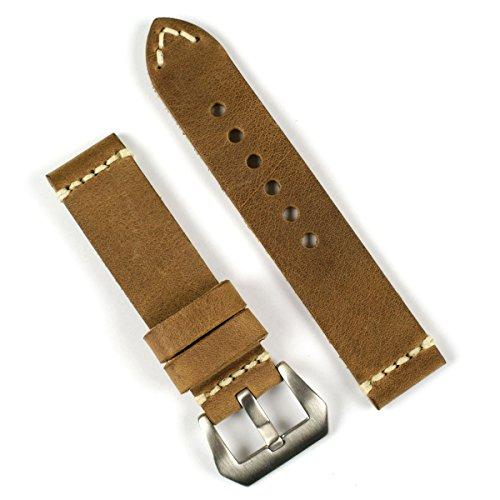 Field Drab Ivory-Stitch Panerai Style Leather Watchband 24Mm Short