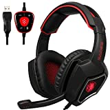 2016 New SADES Spirit Wolf 7.1 Surround Sound Stereo USB Gaming Headset Headband Headphones with Mic Over-the-Ear Noise Isolating Volume Control LED Light For PC Gamers (Black Red)