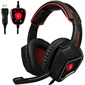 2016 New SADES Spirit Wolf 7.1 Surround Sound Stereo USB Gaming Headset Headband Headphones With Mic Over-the-Ear...