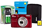 Nikon Coolpix L27 Camera with 4x AA Batteries, Charger, Case and 4GB SD Card - Red (16 MP) 2.7 inch Screen