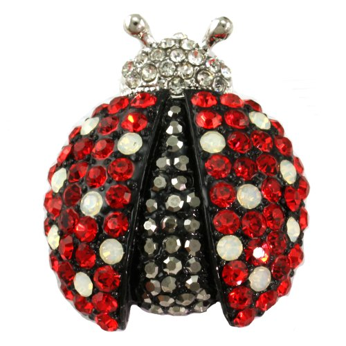 Adorable Red Ladybug Pin Brooch White Opal Spot
