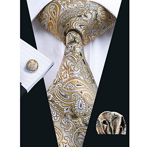 Hi-Tie Mens Gold Tie Woven Silk Solid Plaid Paisley Necktie Hanky Cufflinks set
