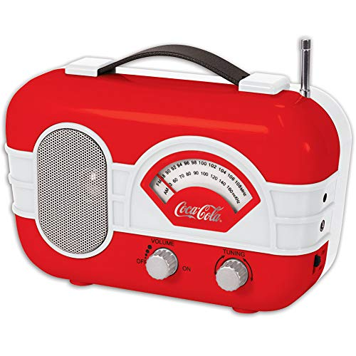 COCA-COLA Retro Desktop Vintage Style Am/FM Battery Operated Radio with Auxillary Input Red/White
