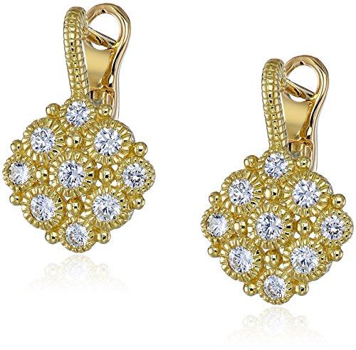 Judith Ripka La Petite 18k Gold Diamond Snowflake Drop Earrings