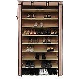 Songmics XXL 10 Schicht Schuhregal für ca. 45 Paar Schuhe Schuhschrank Regale 88 x 28 x 160 cm Hellbraun RXJ36K