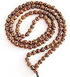 Ovalbuy 108 Carved Wood Skull Beads Buddhist Prayer Mala Necklace