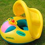 Inflatable Toddler Baby Swim Ring Float Seat Swimming Pool Seat with Canopy for Boys and Girls of 1-3 Year Old.