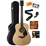 Yamaha FG800 Acoustic Guitar Bundle with Hard Case, Tuner, Strap, Strings, Picks, Austin Bazaar Instructional DVD, and Polishing Cloth - Natural