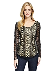 M&S Collection Aztec Lace Top