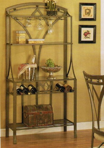 Baker's Rack with Wine Storage - Bronze Finish