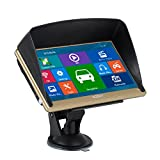 Xgody 715 7 Inch Portable truck Car GPS Navigation Sat Nav Capacitive Touch Screen with Sunshade Built-in 8GB FM MP4 MP3 Lifetime Map Gold