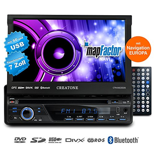 1DIN-Autoradio-CREATONE-CTN-8423D26-mit-GPS-Navigation-Bluetooth-DVD-Player-Touchscreen-und-USBSD-Funktion