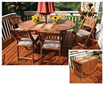 "Hot Sale Outdoor Interiors 7PC Oval Fold & Store Table Set w/Cushions & Cover (Brown) (41.5""H x 70.75""W x 30""D)"