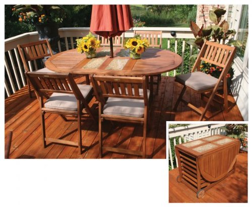 Outdoor Interiors S10666G 7 Piece Oval Fold And Store Table Set With  Cushions And Cover Review