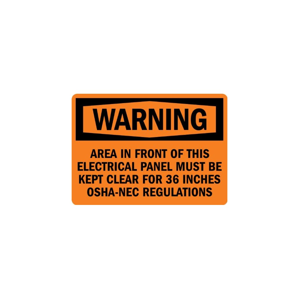 SmartSign 3M Engineer Grade Reflective Label, Legend Warning Electrical Panel Must Be Kept Clear, 7 high x 10 wide, Black on Orange