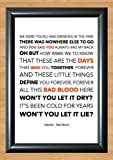 Bastille 'Bad Blood' Lyrical Song Print Poster Art A4 Size (Typography)