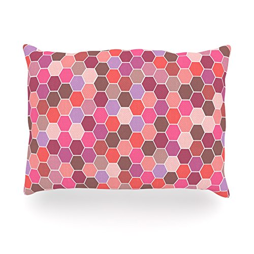 "Kess Inhouse Nandita Singh ""Blush"" Tiled Pink Oblong Rectangle Outdoor Throw Pillow, 14 By 20-Inch front-993394"