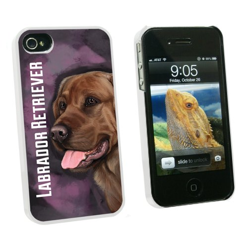 Chocolate Labrador Retriever Pink - Dog Pet - Snap On Hard Protective Case for Apple iPhone 4 4S - White