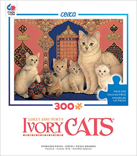 Ceaco Ivory Cats - Catkin and her kittens Puzzle