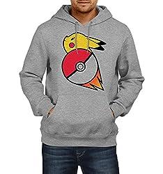Fanideaz Men's Cotton Pokemon Go Pikachu Hoodies For Men (Premium Sweatshirt)_Grey Melange_XL