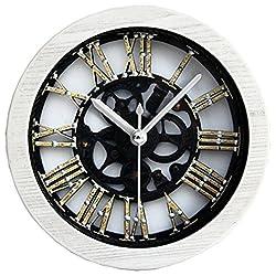 Grazing 5 Metal Gearwheel Roman Numerals Imitation Wood Grain Non Ticking Sweep Silent Round Desk Travel Alarm Clock (Gearwheel,White)