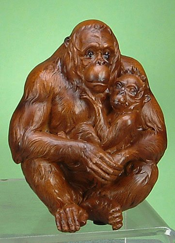 Orangutan and Baby Figurine