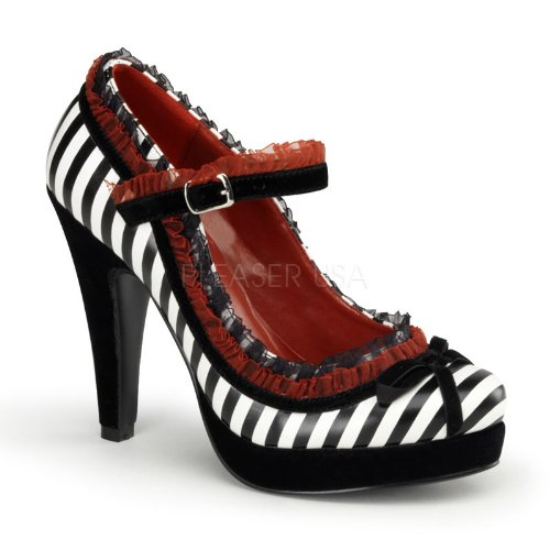 Previously Sold But Brand New, 4 1/2 Inch Heel, 1 Inch Platform Mary Jane Pump W/ Lace Trim & Bow Tie Black-White Faux Leather Womens Size: 10 Only (U.S.)