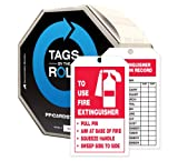 """Accuform Signs TAR712 Tags By-The-Roll Fire Extinguisher Tags, Legend """"TO USE FIRE EXTINGUISHER.../ FIRE EXTINGUISHER INSPECTION RECORD"""", 6.25"""" Length x 3"""" Width x 0.010"""" Thickness, PF-Cardstock, Red/ Black on White (Roll of 100)"""
