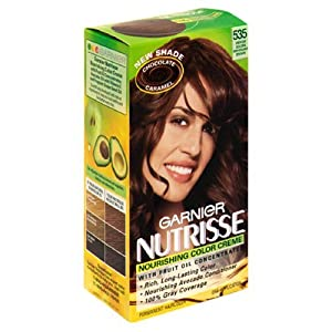 Amazoncom  Garnier Nutrisse Haircolor 535 Medium Golden Mahogany Brown Cho