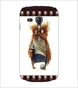 PrintDhaba Funny Owl D-4503 Back Case Cover for SAMSUNG GALAXY S3 MINI (Multi-Coloured)