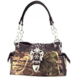 Western Cowgirl Camouflage Rhinestone Buckle Satchel Purse Brown Trim Camo