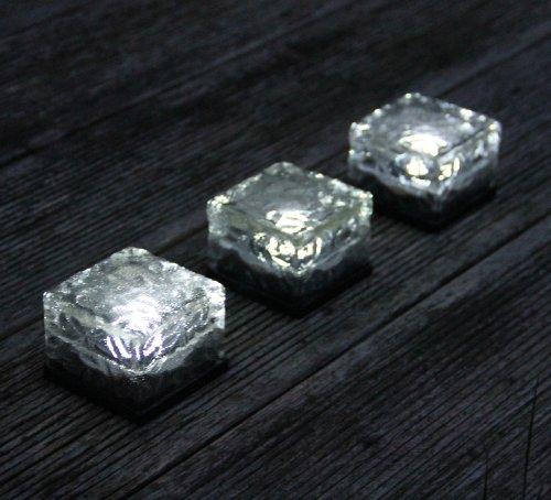 Frostfire - Set di 3 segnapasso a luce solare a forma di cubetto di ghiaccio