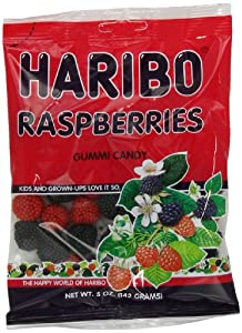 Haribo Gummi Candy, Raspberries, 5-Ounce Bags (Pack of 12)