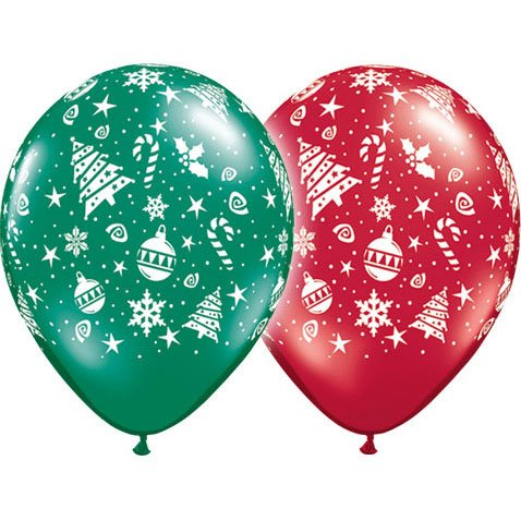 "11"" Christmas Trimmings Around Latex Balloons (10 per package)"