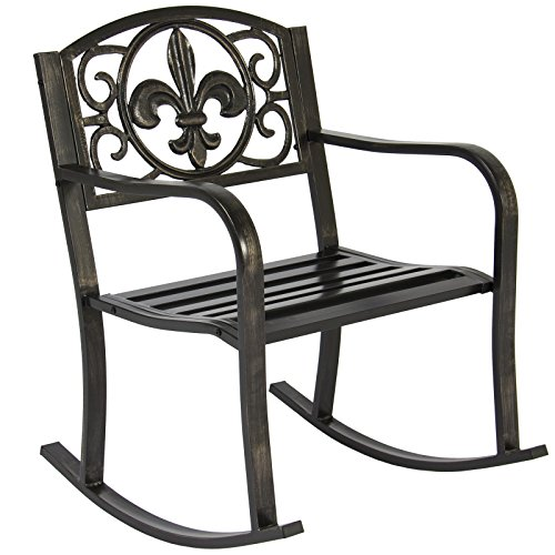 Patio Metal Rocking Chair Porch Seat Deck Outdoor Backyard Glider Rocker (Resin Stacking Adirondack Chair compare prices)