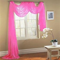 DreamKingdom - Hot Pink Elegance Sheer Scarf Valance 216\'\' Long