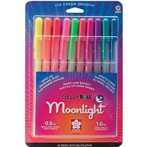 Sakura 38176 10-Piece Gelly Roll Assorted Colors Blister Card Moonlight 10 Bold Point Gel Ink Pen Set