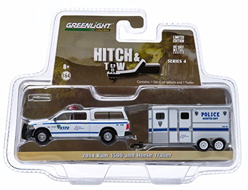 2014 RAM 1500 & HORSE TRAILER (NYPD MOUNTED UNIT) * Hitch & Tow Truck & Trailer Series 4 * Limited Edition 2015 Greenlight Collectibles 1:64 Scale Die-Cast Vehicle Set
