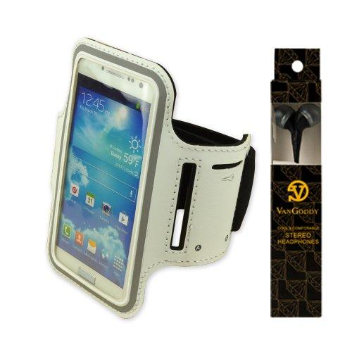 Adjustable Neoprene Workout Running Armband For Lg Nexus 4 , Nexus 5 , Lg Optimus L9 P760 (White) + Vangoddy Headphone With Mic, Black